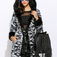 Camouflage Patchwork Irregular Pockets Drawstring Hooded Long Sleeve Faux Fur Thick Coat
