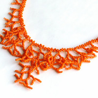 Orange Necklace. Bridesmaids Necklace. Wedding Necklace.  Bridal Necklace. Beadwork