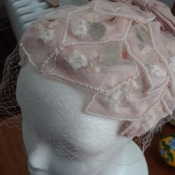 Vintage Deadstock Hat, 1950s, Birdcage Veil, Pink Tulle, Flowers, Pearls, Velvet Bow, Half Hat, Wedding, Easter