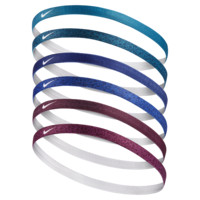 Nike Printed Headbands (6 Pack) (Blue)