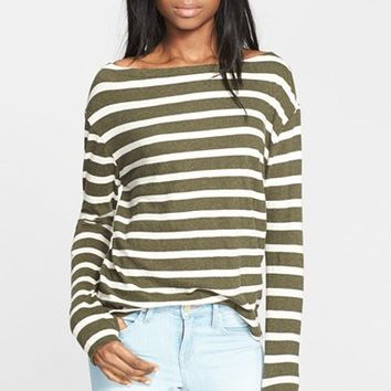 Women's Enza Costa Stripe Cotton Blend Pullover,