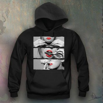 Sexy Girl Rolling A Blunt Red Lips Hooded Sweatshirt Funny and Music