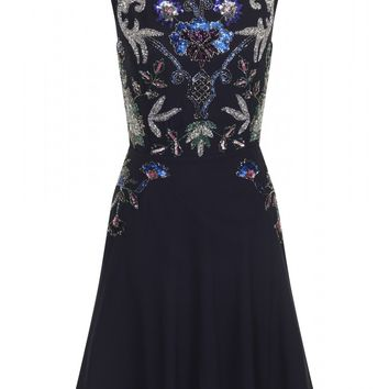 Esmerelda Navy Floral Beaded Dress - Dresses - Clothing