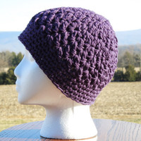 Beanie Purple Cotton Crochet Hat by KeepItUnderYourHat on Etsy