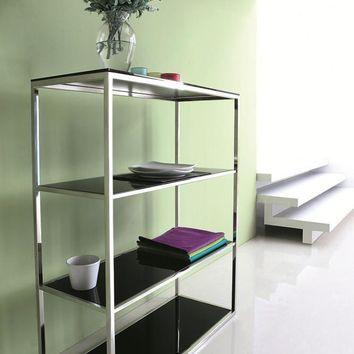 Calypso Bookshelf/Divider with stainless steel body and black tempered glass shelves