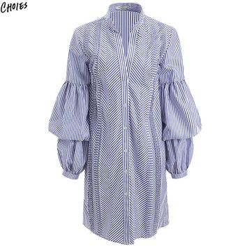 Blue Stripe Ruched Puff Long Sleeve Shirt Women Stand Neck Buttons up Front High Street Fashion Fall Top Wear