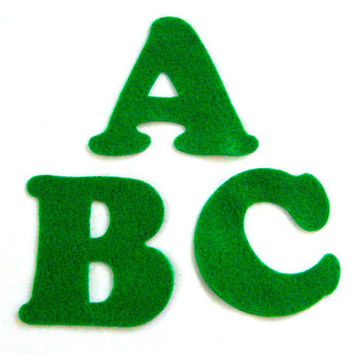 Green Felt Alphabet Letters - Fabric Applique or Play - Upper Case - Educational - 3 inch die cut