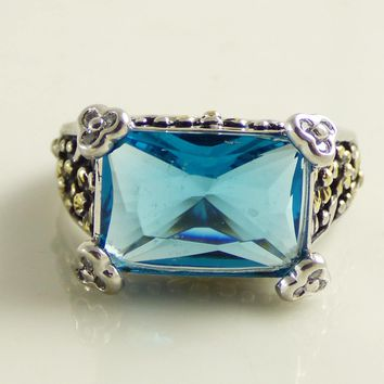 Sterling silver 925 London Blue Quartz Beaded Forget Me Not Ring