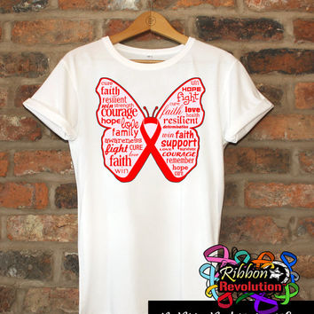 Inspiring Red Butterfly Awareness Ribbon Shirts for Blood Cancer, Heart Disease, Stroke Disease, AIDS/HIV, Vasculitis and more