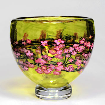 Cherry Blossom Footed Bowl on Lime by Shawn Messenger: Art Glass Bowl | Artful Home
