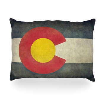 "Bruce Stanfield ""State Flag of Colorado"" Black Red Oblong Pillow"