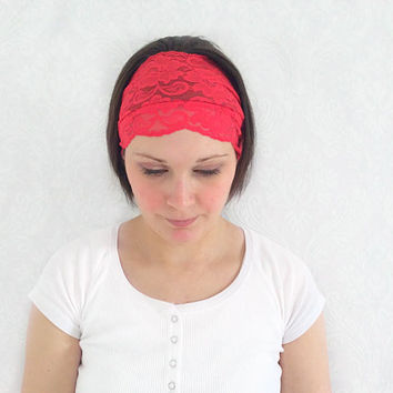 Red Lace headband, Stretch Lace, Lace Sweatband, Indi Fashion Accessory, Bridal Lace Headband, Shabby Chic Lace Headband, Hippie Wedding