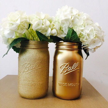 Set of 2 gold mason jars - metallic gold and gold glitter