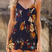 Navy V-Neck Floral Strap Cross Back Romper Playsuit