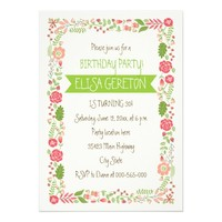 "Coral pink floral border women birthday party 5"" x 7"" invitation card"