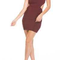Cut Out Bodycon Dress - Maroon