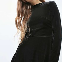 Velvet High Neck Skater Dress - New In