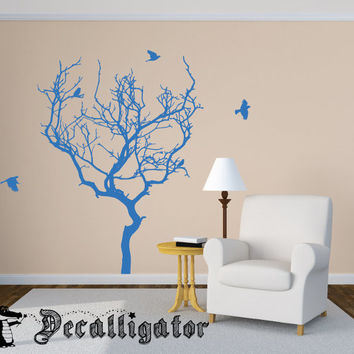 Wall Decal - Bare Winter Tree with Birds - Beautiful Nature Vinyl Mural [031]