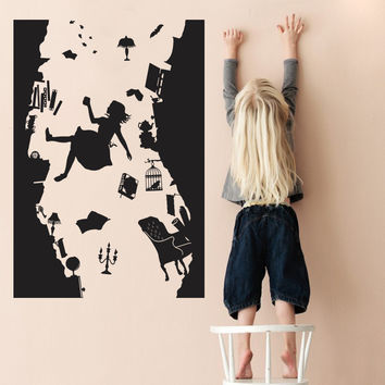 Alice in Wonderland WALL STICKER Art Vinyl Home Decor Falling Down the Rabbit Hole Wall Decal DIY Removable Cartoon kids room