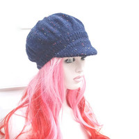 Hand Knitted Navy Fleck Newsboy Baker Boy Hat Womens Winter Peaked Hat