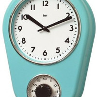"0-008237>12""h Retro Kitchen Timers Clock Turqoise"
