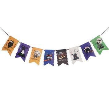 3 Meters DIY Happy Halloween Swallow Tail Banners Garland Ghost Pumpkin Cat Owl Castle Patterns Hanging Bunting Garland Decor
