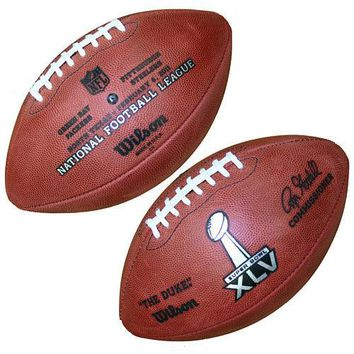 WILSON OFFICIAL SUPER BOWL 45 XLV LEATHER GAME FOOTBALL PACKERS STEELERS STAMPED