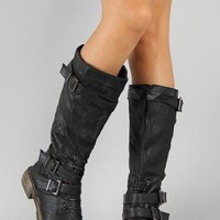 Liliana Harvey-3 Buckle Riding Knee High Boot