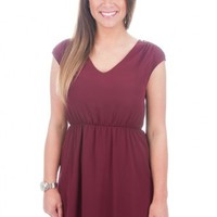 Everly: Hey Stud Dress-Maroon - DRESSES