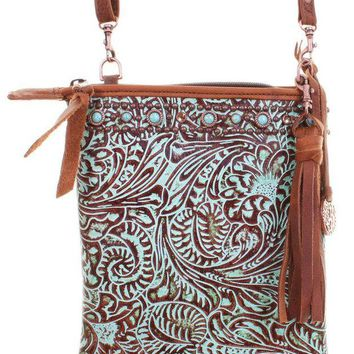 DCCKAB3 Double J Saddlery Turquoise Western Floral Leather Pouch Purse PP24