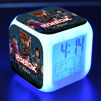 2018 Game Roblox Alarm Clock Night Glowing Cube 7 Colors LED Light Digital Electronic Action Figure Toys Kid Christams Gift