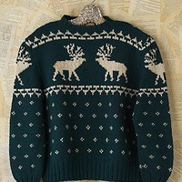 Free People Vintage Green Reindeer Sweater