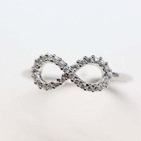 Infinity Ring with Tiny cubic zirconia stones in silver