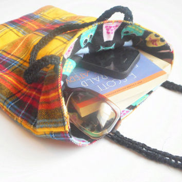 Reversible Flannel Tote in Yellow Plaid and Black Owl Prints, Hemp Straps, ready to ship.