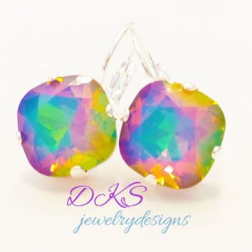 WHITE OPAL ELECTRA, swarovski earrings, lever backs,  12mm, rainbow, opal rainbow, dksjewelrydesigns