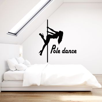 Vinyl Wall Decal Pole Dance Silhouette Sexy Woman Dancers Night Club Stickers Mural Unique Gift (ig5239)