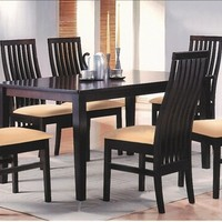 A.M.B. Furniture & Design :: Dining room furniture :: Small Dinette Sets :: Espresso Finish sets :: 7 pc Amanda collection vertical slatted back chairs and espresso finish wood dining table set and fabric seats