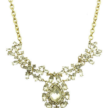 NECKLACE / FACETED HOMAICA / BIB / CRYSTAL STONE / METAL SETTING / LINK / CHAIN / 2 INCH DROP / 18 INCH LONG / NICKEL AND LEAD COMPLIANT