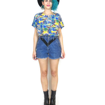 80s Tourist Vacation Shirt Novelty Parrot Print Short Sleeve Blouse Travel Vacation Artsy Sailboat Top (S/M)