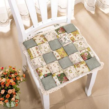 1pc Pastoral Style  Printing Flower Cotton  Seat Cushion Sofa Car Mat Home Kitchen Chair Sit Pad Mat Pillows Winter