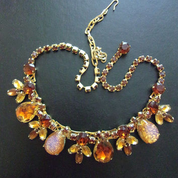 WEISS Dragon's Breath Topaz Rhinestone Necklace, Rare, Gold Tone Book Chain, Signed Vintage