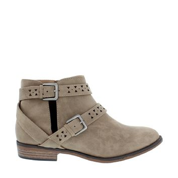 2 Buckle Cut Out Ankle Bootie (TAUPE)
