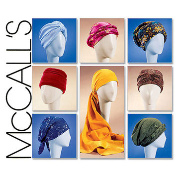 Hats and Turbans Pattern McCalls 4116 UNCUT Cancer Chemo Hat Wrapped Headwraps Headcovering Snood Babooshka Kerchief Womens Sewing Patterns
