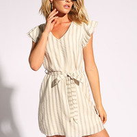 Cream Stripe Tie Front Ruffle Dress