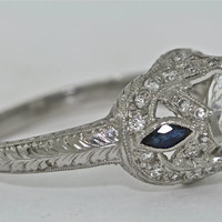 Platinum and Diamond and Blue Sapphire Edwardian Style Hand Engraved Ring with 1.00ct Moissanite
