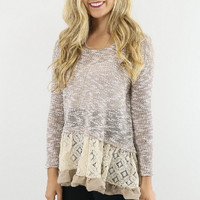 Casual Lace Embroidered Long Sleeve Ruffle Blouse