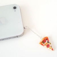 Miniature Supreme Pizza dust plug, phone charm, cell phone strap, iphone, ipad