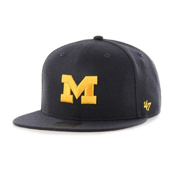 DCCKG8Q NCAA 47 Brand Michigan Wolverines Navy Sure Shot 47 Captain Snapback
