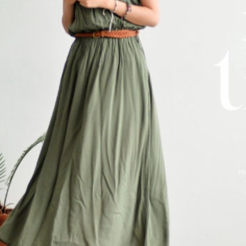Loose Fitting Long Maxi Dress/Military long dress/sleeveless long dress/maxi dress/.pleated long dress//pocket dress/vintage dress/sundress