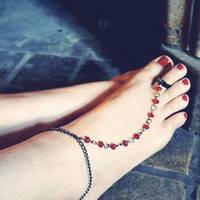 Slave Anklet Red Beaded Rosary by francisfrank on Etsy